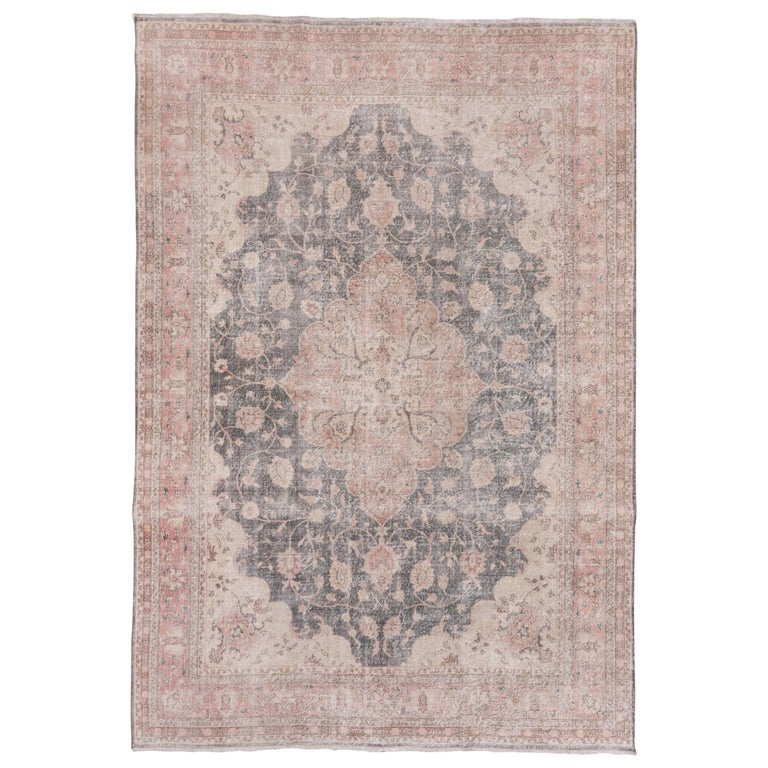 Lightly Distressed Oushak Carpet, Shabby Chic Style, Gray Field, Pink Border For Sale