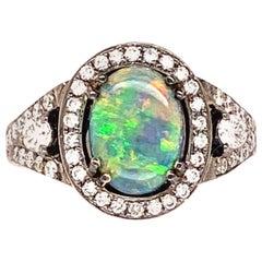 Lightning Ridge Black Opal and Diamond Ring, 18 Karat White Gold, Black Rhodium