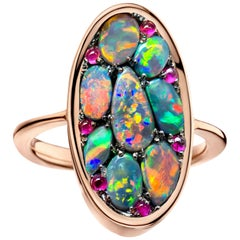 Lightning Ridge Black Opal and Pink Sapphire Pave Ring