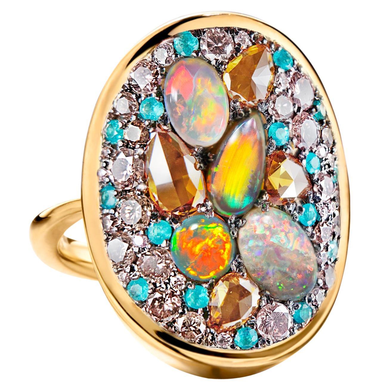 Lightning Ridge Black Opal, Paraïba Tourmaline Orangy and Pink Diamond Pave Ring