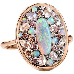 Lightning Ridge Dark Opal, Pink Diamond Pink Padparadscha Sapphire Ring