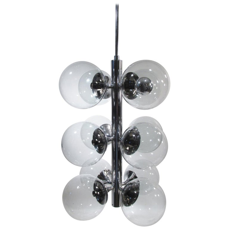 Lightolier 12 Ball Light Chrome Bubble Sputnik Molecule Chandelier For Sale