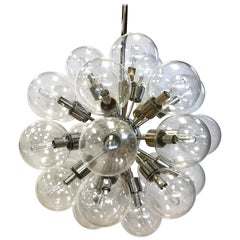 Lightolier 1960s Mid-Century Modern Sputnik Atomic Chandelier 30 Glass Globes