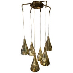 Lightolier Brass 6-Cone Pendant Light