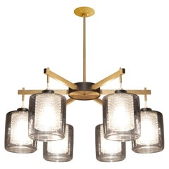Lightolier Brass Chandelier with Diffusers & Smoked Glass Shades, 1950s 'Signed'