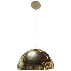 Lightolier Concentric Louvered Brass Pendant Light / Chandelier