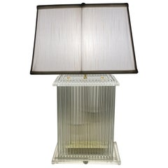 Lightolier Glitzy Lucite and Glass Rod Table Lamp