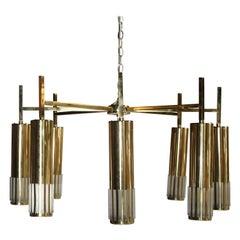 Lightolier Midcentury Brass Chandelier
