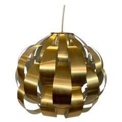 Lightolier Midcentury Brass Ribbon Pendant Light Chandelier by Max Sauze