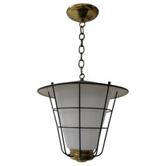 Lightolier Mid-Century Modern Glass Brass & Iron Pendant Lamp