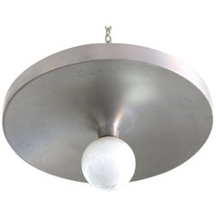 Lightolier Mid-Century Modern Metal Saucer Flush Mount Light