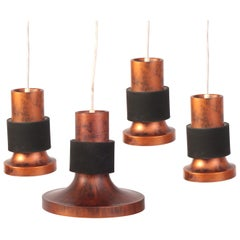 Lightolier Patinated Copper & Metal Pendant Lights