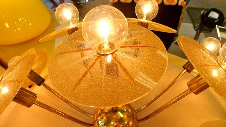 American Lightolier Sunburst Flushmount Ceiling or Wall Light For Sale