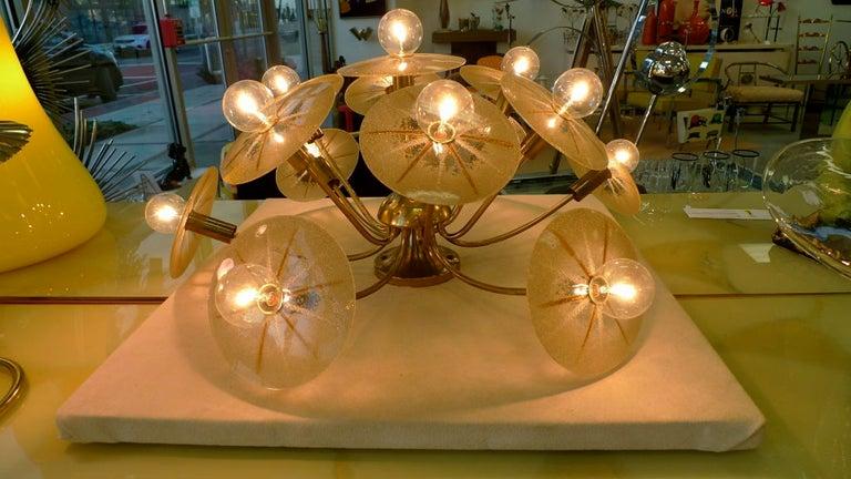Brass Lightolier Sunburst Flushmount Ceiling or Wall Light For Sale