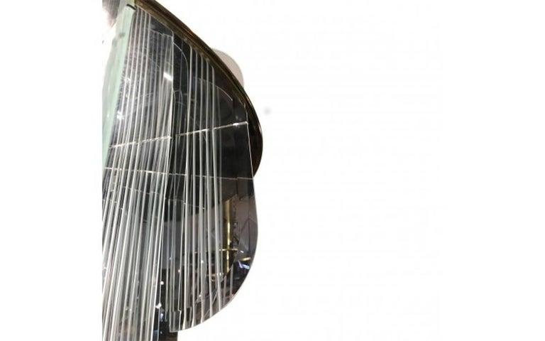 American Lightolier Two-Tier Brass and Glass Twelve-Light Chandelier For Sale