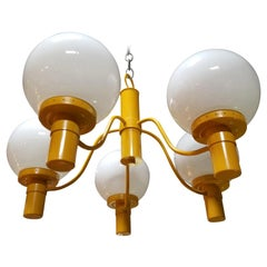 Lightolier Yellow Chandelier, Mid-Century Modern