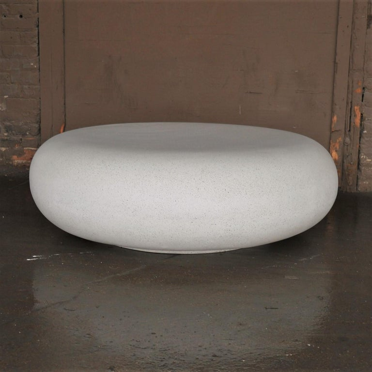 Cast Lightweight Outdoor Cocktail Table in 'White Stone' Finish by Zachary A. Design For Sale