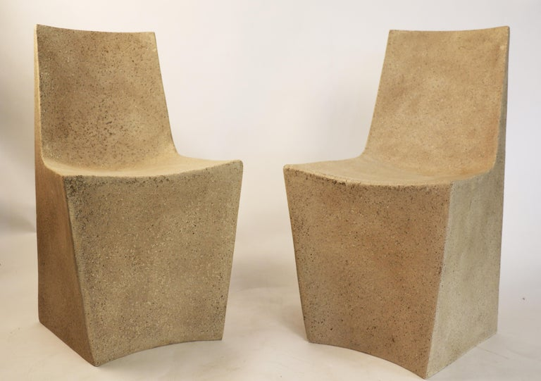 American  Cast Resin 'Stone' Dining Chair, Aged Stone finish by Zachary A. Design For Sale