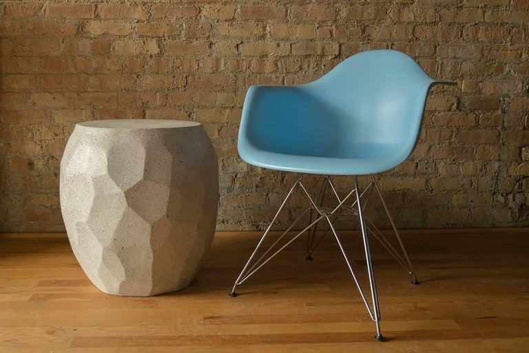 Minimalist Cast Resin 'Facet' Side Table, Natural Stone Finish by Zachary A. Design For Sale