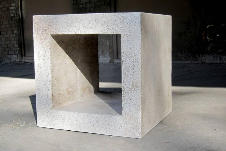 Minimalist Cast Resin 'Ray' Side Table, Natural Stone Finish by Zachary A. Design For Sale