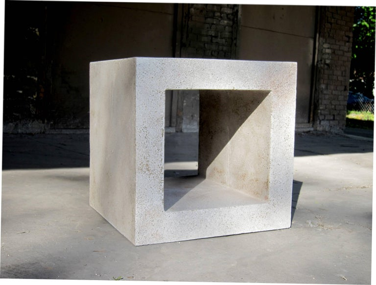American Cast Resin 'Ray' Side Table, Natural Stone Finish by Zachary A. Design For Sale