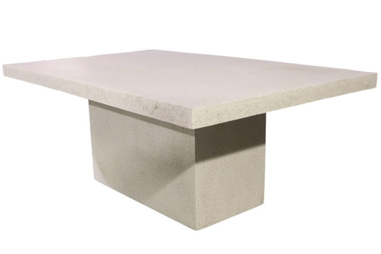 "The Slab Dining table is our most versatile table. Pictured in our Aged Stone finish, the texture and modern look of concrete make it appropriate for a wide variety of styles and spaces.  The slab table (ZBT213) is 72"" in long, 48"