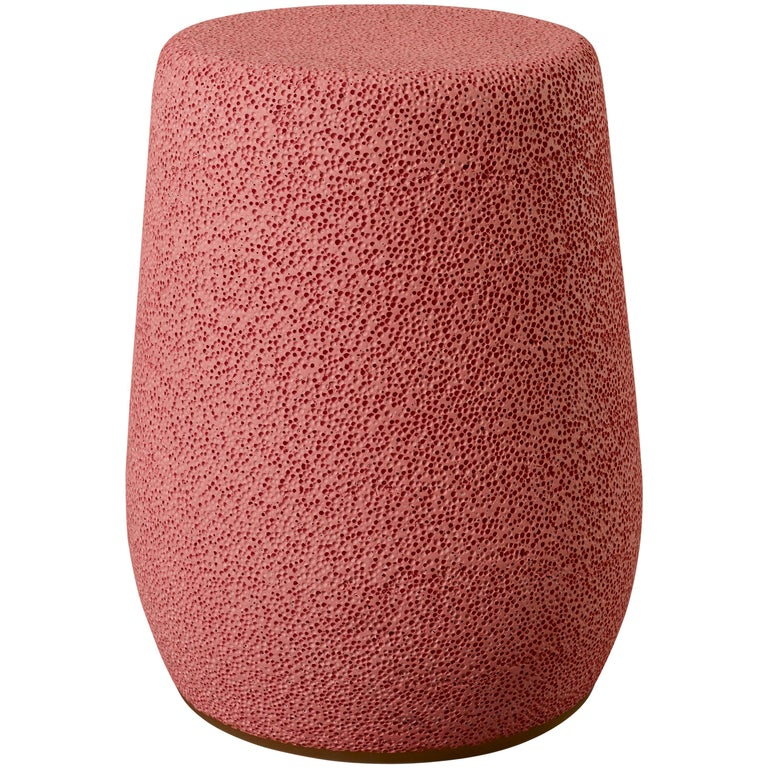 'Lightweight Porcelain' Stool and Side Table by Djim Berger, Color: Lipstick For Sale