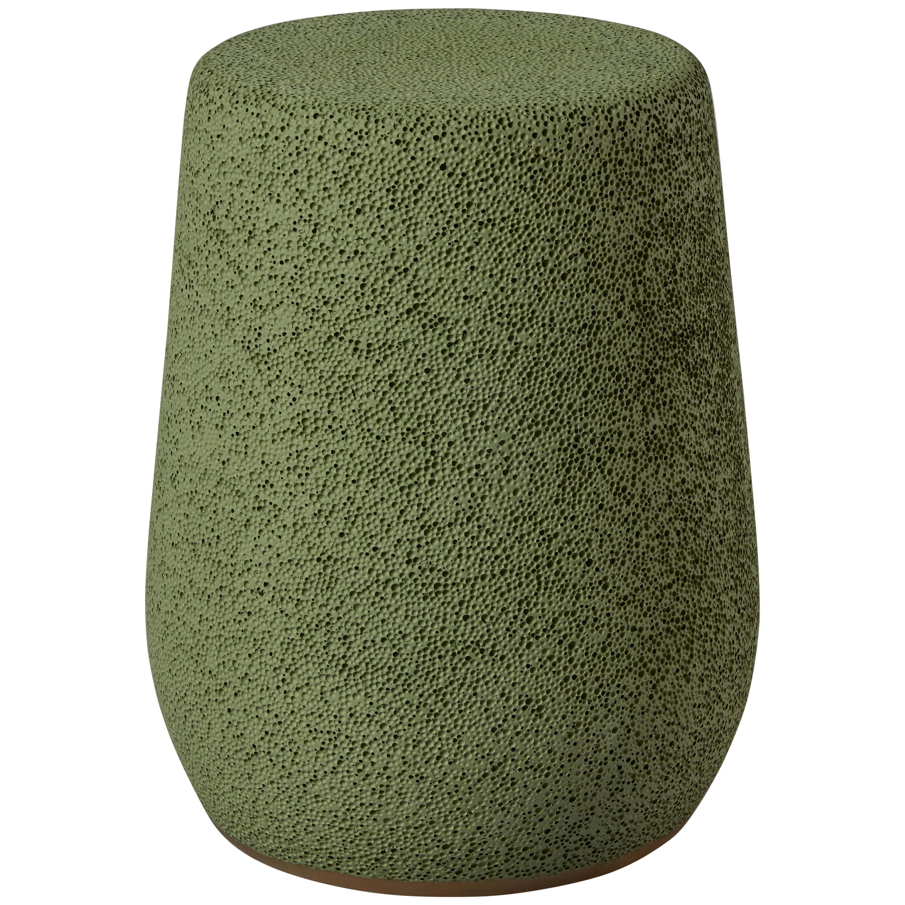 'Lightweight Porcelain' Stool and Side Table by Djim Berger - Color:Golden Green