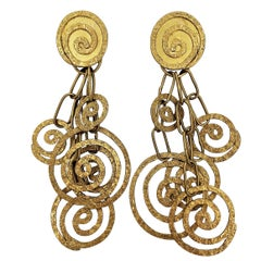 Lightweight, Spiral Motif, 22 Karat Earrings