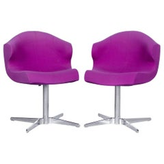Ligne Roset Alster Designer Fabric Armchair Set Purple One-Seat Chair