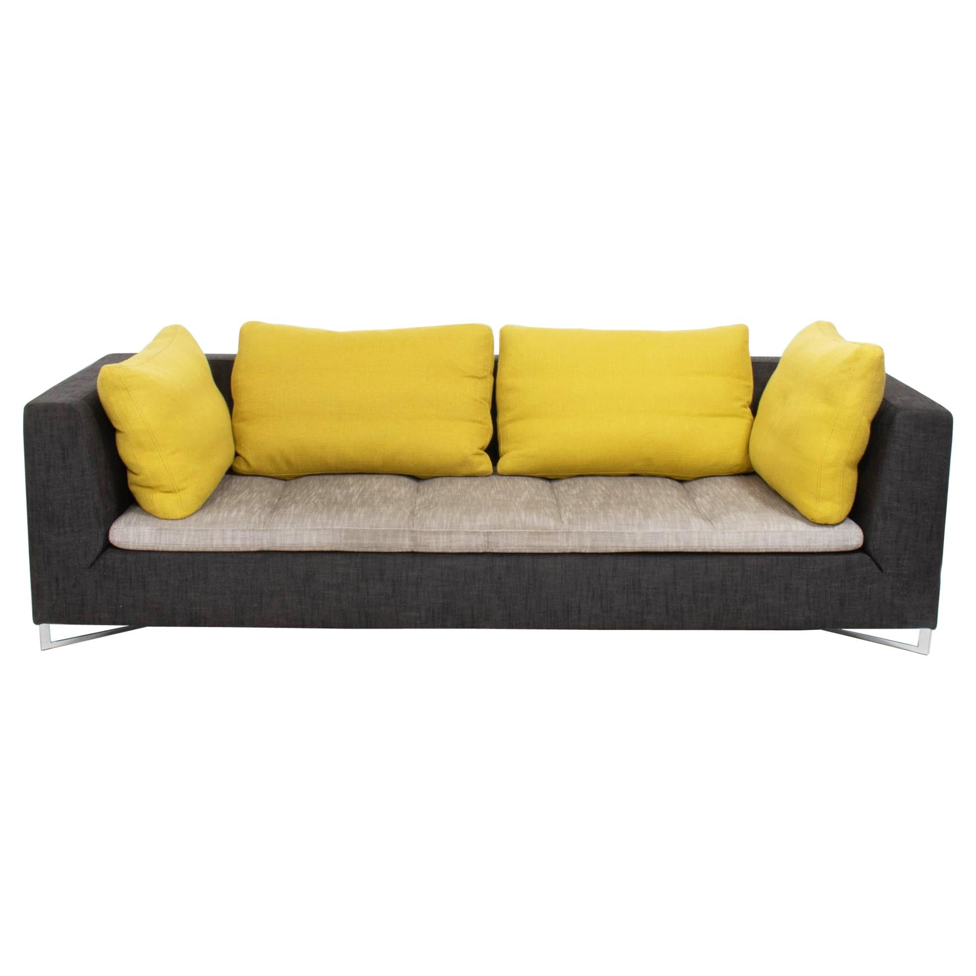 Ligne Roset by Didier Gomez Feng Grey and Yellow Three-Seat Feng Sofa, 2004