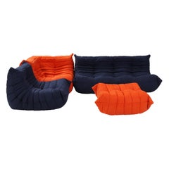 Ligne Roset by Michel Ducaroy Togo Blue and Orange Modular Sofa Set of 4