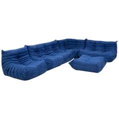 Ligne Roset by Michel Ducaroy Togo Blue Modular Sofa and Footstool, Set of 5