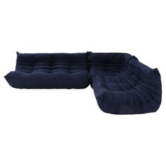 Ligne Roset by Michel Ducaroy Togo Dark Blue Sofa and Footstool, Set of 3