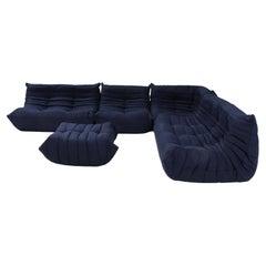 Ligne Roset by Michel Ducaroy Togo Dark Blue Sofa and Footstool, Set of 5
