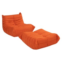 Ligne Roset by Michel Ducaroy Togo Orange Armchair and Footstool, Set of Two