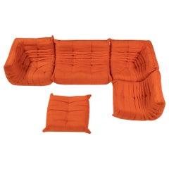 Ligne Roset by Michel Ducaroy Togo Orange Modular Sofa, Set of 5