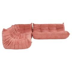 Ligne Roset by Michel Ducaroy Togo Pink Modular Sofa and Footstool, Set of 3