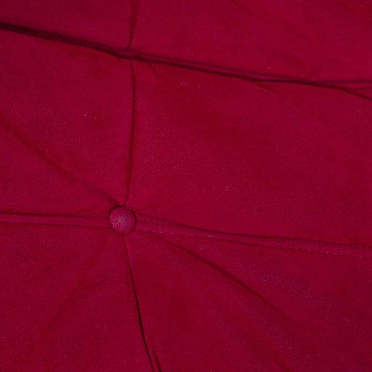 Ligne Roset by Michel Ducaroy Togo Red Suede Corner Sofa For Sale 4