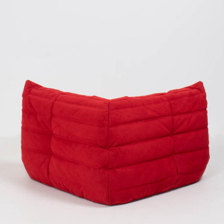 French Ligne Roset by Michel Ducaroy Togo Red Suede Corner Sofa For Sale