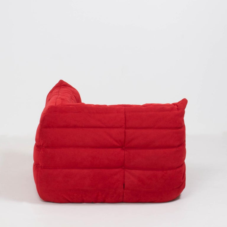 Ligne Roset by Michel Ducaroy Togo Red Suede Corner Sofa In Good Condition For Sale In London, GB