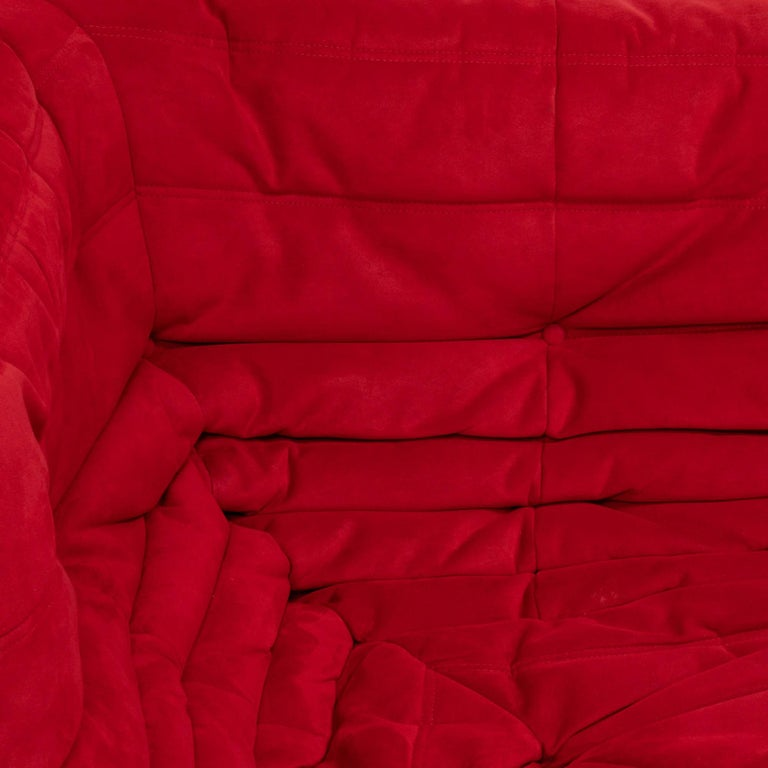 Late 20th Century Ligne Roset by Michel Ducaroy Togo Red Suede Corner Sofa For Sale