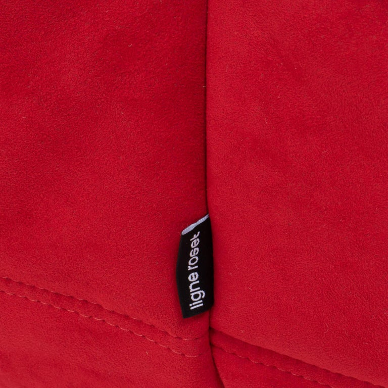 Fabric Ligne Roset by Michel Ducaroy Togo Red Suede Corner Sofa For Sale