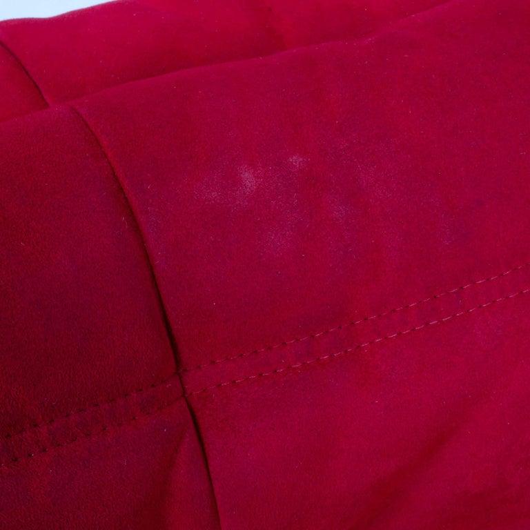 Ligne Roset by Michel Ducaroy Togo Red Suede Corner Sofa For Sale 1