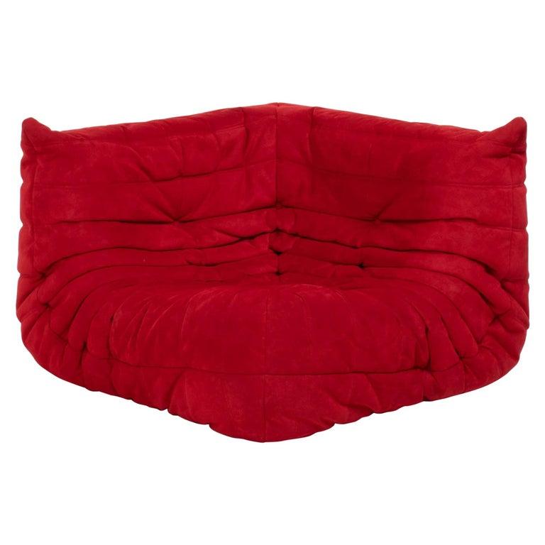 Ligne Roset by Michel Ducaroy Togo Red Suede Corner Sofa For Sale