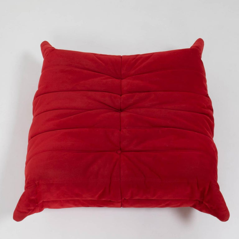 French Ligne Roset by Michel Ducaroy Togo Red Suede Footstool For Sale