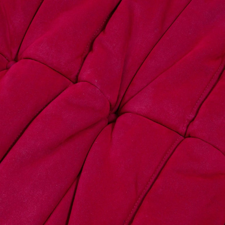 Ligne Roset by Michel Ducaroy Togo Red Suede Modular Two Seater Sofa For Sale 4