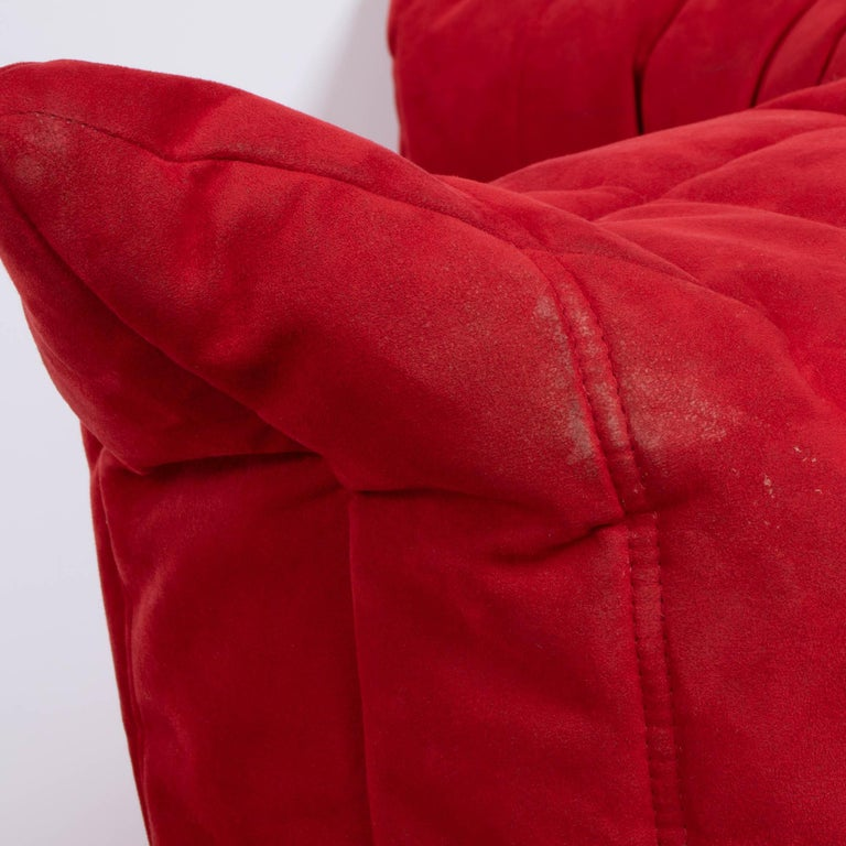 Fabric Ligne Roset by Michel Ducaroy Togo Red Suede Modular Two Seater Sofa For Sale