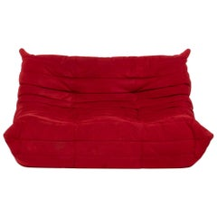 Ligne Roset by Michel Ducaroy Togo Red Suede Modular Two Seater Sofa