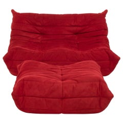 Ligne Roset by Michel Ducaroy Togo Red Suede Sofa and Footstool, Set of 2